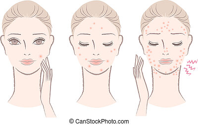 Beautiful woman frowning pimples, Skin trouble. Isolated on white. Cut out.