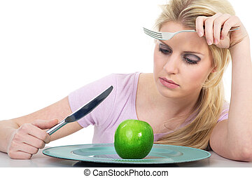 woman with apple is frustrated