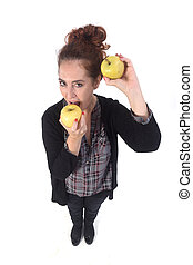 woman with apple on white background