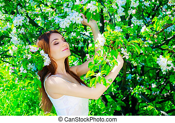 woman with apple tree