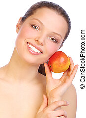 Woman with apple - Young smiling woman with red apple....