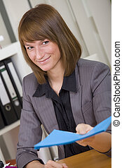 woman with application file