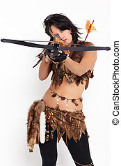 woman with arbalest - portrait of beautiful woman fur hunter...