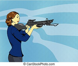 Woman with arbalest. Vector illustration in comics retro pop art style