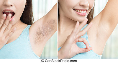 woman with armpit plucking - asia beauty woman with armpit...