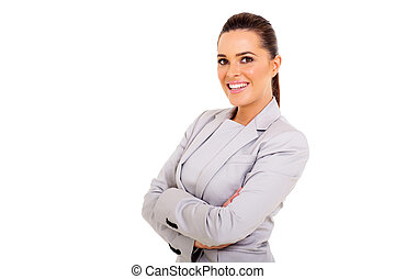 woman with arms folded