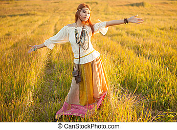 Woman with arms outstretched - Hippie woman with arms...