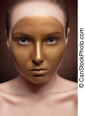 Woman with artistic make up on face