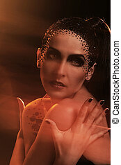 Woman with artistic makeup