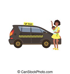 Woman With Baby Calling Black Taxi Car Simple Childish Flat ...