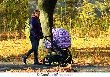woman with baby in perambulator in the park