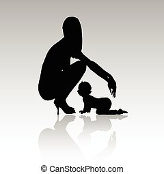 woman with baby silhouette illustration