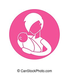 woman with baby, silhouette style icon