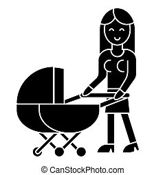 woman with baby stroller  icon, vector illustration, sign on isolated background