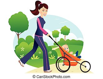An illustration of a young mother jogging with her baby through the park.