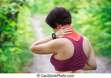Woman with back pain, neck injury, trauma during workout