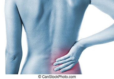Woman with back pain - Woman holding her painful back