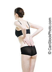 Woman with backache. Pain in the human body isolated on white background