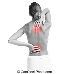 Woman with backache - Picture of a woman with backache over...