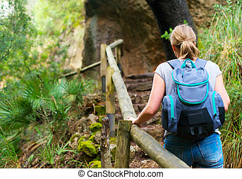 Woman with backpack enjoying nature. Back view.