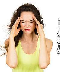 Woman with bad headache - A woman with a bad headache or ...
