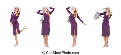 Woman with bag in fashion concept - The woman with bag in ...