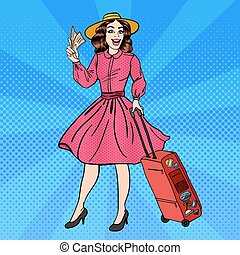 Woman with Baggage. Pin Up Girl. Beautiful Girl with Tickets. Time to Travel. Pop Art. Vector illustration