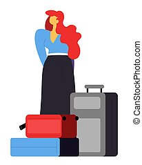 Woman with bags waiting in airport, passenger with baggage vector