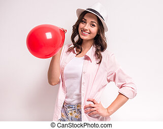 Woman with balloon