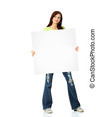 Woman with banner.