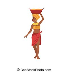 Woman With Basin On Head From African Native Tribe