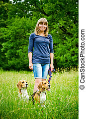 woman with beagle