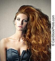 Woman with beautiful hair - Woman with beautiful red hair