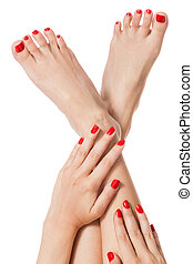 Woman with beautiful red finger and toenails - Woman with ...
