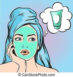Woman with beauty cosmetic mask on face. Vector illustration in pop art comic style