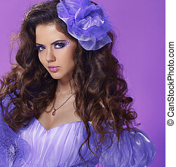 Woman with beauty long brown hair, luxury lady over purple