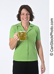 woman with beer on white background