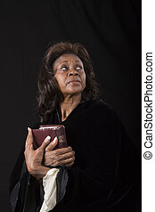 Woman with Bible Eyes Up