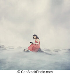 Woman with Bible in clouds.