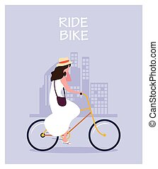 woman with bicycle, label ride bike