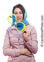 woman with big glasses