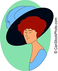 Woman with big hat, illustration, vector on white background.