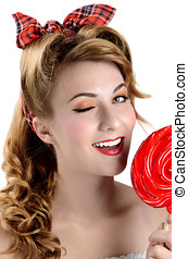 Woman with big red  lollipop