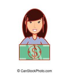 woman with bill dollar money