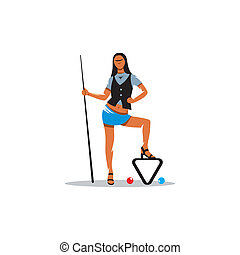 Woman with billiard cue vector sign