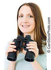 woman with binocular