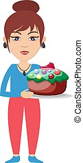 Woman with birthday cake, illustration, vector on white background.