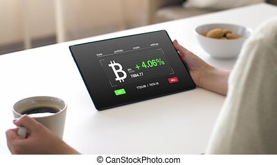 woman with bitcoin on tablet pc screen and coffee -...