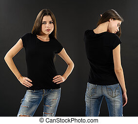 Woman with blank black shirt over black background
