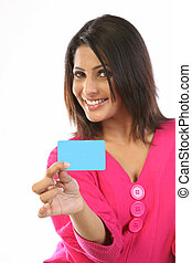 woman with blank credit card